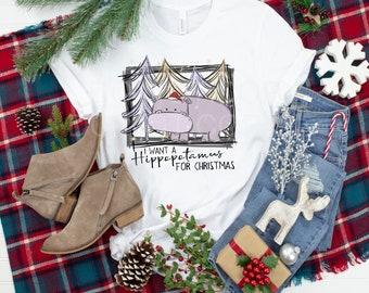 Christmas I Want A Hippopotamus For Chrstmas design t-shirt