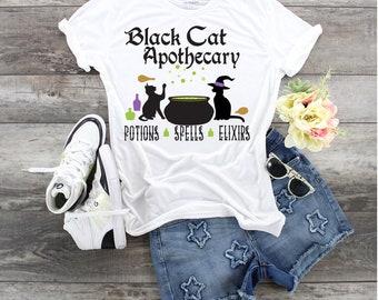 Black Cat Apothecary Potions Spells Elixirs design t-shirt