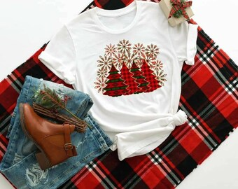 It's Christmas Red Green Plaid Christmas Trees Bella Canvas