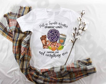 Fall Is Sweater Weather sublimation design t-shirt.