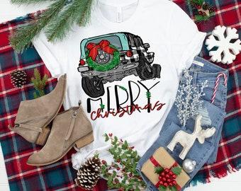 Merry Christmas Plaid Jeep.. design t-shirt