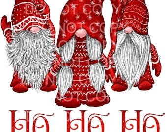 Red Nisse Gnomes HO HO HO design, Sublimation transfer, Ready To Press Image, Sublimation Image Christmas Sublimation, Christmas Gnomes