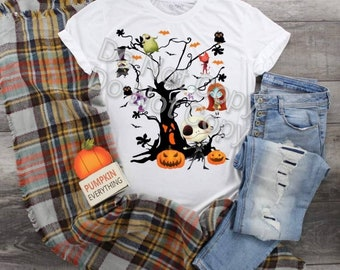 Fall Halloween Scary Tree Familiar Faces  design t-shirt