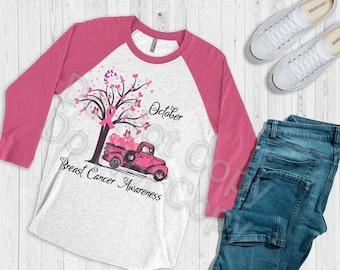October Breast Cancer Awareness Pink Truck ..  design raglan.