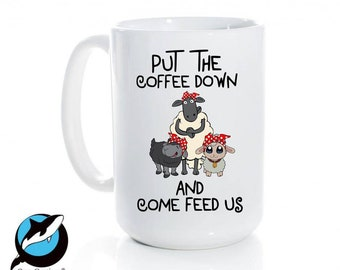 Sheep lover gift, Farm owner, Put The Coffee Down, Come Feed Us, Sheep Design, Love Sheep, Farm animals, Feed me, Farm Life,