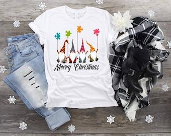 Christmas, Merry Christmas Autism Gnomes, Autism Awareness shirt, Christmas Gnomes, Puzzle Balloons shirt, Ladies Gnomes, Autism Christmas