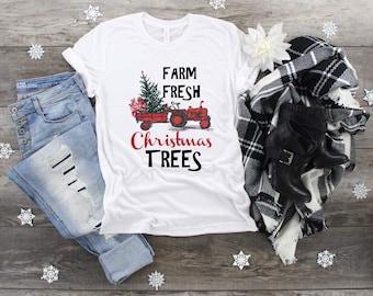 Christmas Farm Fresh Christmas Trees Tractor design t-shirt