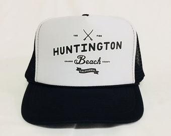 e2b271a27f Huntington Beach Pier black white trucker hat- HB Orange County Pier  Surfboard trucker hat