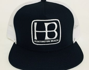 adc17f164d Huntington Beach City Snapback Black   White Trucker Hat with White  Embroidery