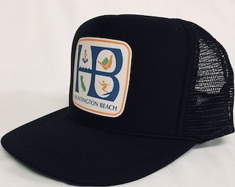 5fd8c8a2d0 Huntington Beach SHAKA black trucker hat- HB City Hang Loose Surfer trucker  hat