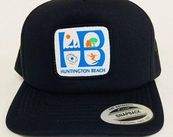 74aecf1994 Huntington Beach City Trucker Hat black white   HB Patch Foam