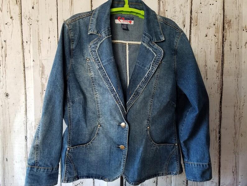 Plus Size 1820 Embellished Jean Blazer-Upcycled Woman/'s Denim Vintage Jacket-Ladies Coat-Plus Size Jean Blazer-Ladies Denim-Birthday Gift