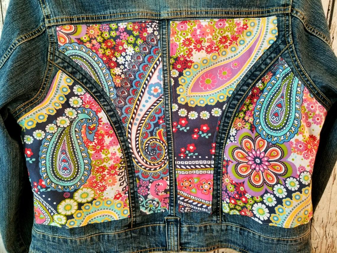 Woman's Flower Power Xl (14/16) Jean Jacket-embellished Jacket-recycled Fabric Jacket-upcycled Jacket-hippie Jacket
