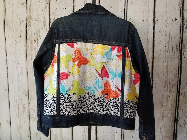 Girls Size 5-6 Jean Jacket-Kids Denim Jacket-Embellished Jean Jacket-Recycled Jean Jacket-Upcycled Denim Jacket-Birthday Gift-Butterfly