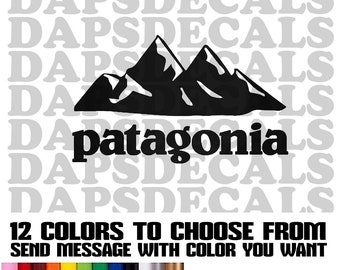 Patagonia Mountain Decal 3 Sizes and 12 Colors to choose from great for Yetti, Tumbler, Car or Truck Window Decal, Laptop Decal.