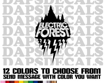 Electric Forest Decals, Tumbler Decals, Laptop Decal 3 sizes and 12 Colors to choose from.