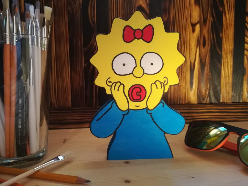 The Simpsons Maggie free stand shelf wood decoration Funny wooden cartoon figure