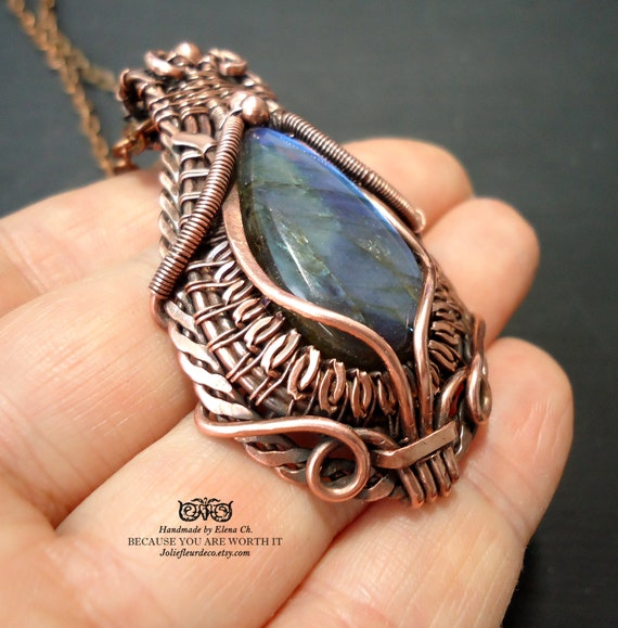 Droplet of Labradorite Heady Wire Wrap Pendant with Amethyst Copper Chain endant Copper Wire Wrapped Cabochon