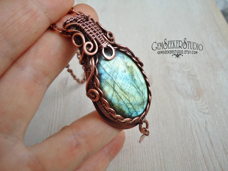 Blue Labradorite pendant Wire wrap jewelry Copper jewelry Labradorite necklace  Heady pendant Pendant Wire wrap men pendant Men jewelry