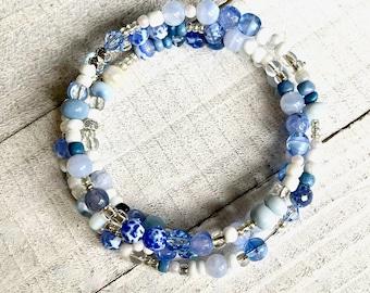 Blue Lace Agate, African Blue Opal, Swarovski and Czech crystals, silver, WRAP BRACELET, stacking, 3 strand, Boho, Denim, Adjustable