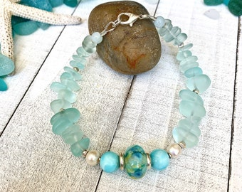 Sea Glass, Larimar, White Freshwater Pearls, Thai Hill Tribe Sterling Silver, Custom Lampwork Focal, Beaded, Bracelet, Boho, Beach, Tropical