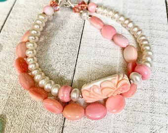 Exquisite, 2-strand bracelet,Pink Conch Shell,Freshwater Pearls,Swarovski Crystals, Sterling Silver,Carved Focal, RARE