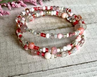 Pink Conch Shell, Stacking Bracelet, 3 strand, wrap bracelet, Swarovski, Czech crystals, silver, pink gemstone, Denim, Adjustable