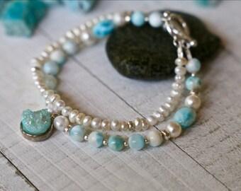 LARIMAR, 2-strand,bracelet,freshwater pearls,Hill Tribe Silver,Stering, Druzy Pendant, Calm, Balance, Positive Energy, Boho, Beach, Tropical