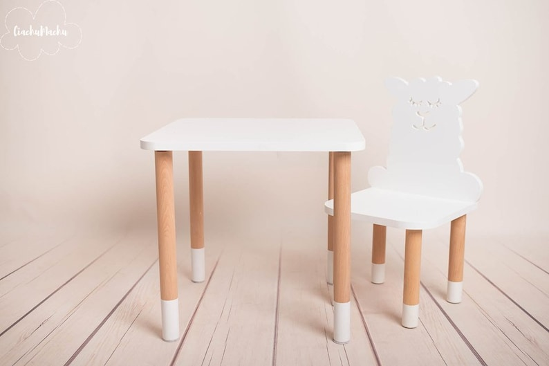 Toddler Gift Baby Decor Baby Furniture SQUARE table Wooden Baby Chair Kids Chair Kids Furniture