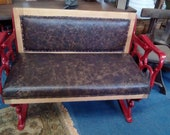 Rare early antique reversable railway tram seat fully restored ideal for barber shop, tattooist waiting room reception