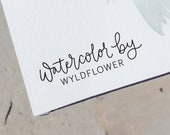 Custom Hand Lettered Water Color By Stamp - Calligraphy Name Stamp with Handle