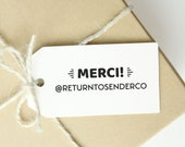 Merci Thank You Social Media Stamp - Custom Shipping Thank You Stamp with Handle