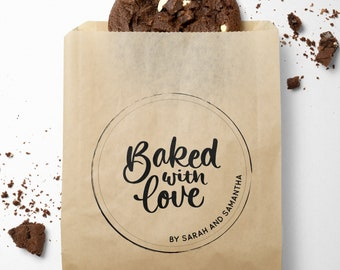 Baked With Love By Stamp - Custom Baked Goods Packaging Stamp