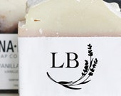 Logo Initials Lavender Stamp - Custom Monogram Packaging Stamp