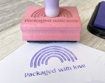 Packaged with Love Rainbow Stamp - Rainbow Shipping Stamp with Resin Handle