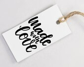 Made with Love Stamp - Hand Lettered Rubber Stamp - DIY Shipping Packaging