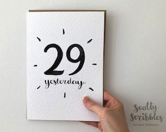 30th Birthday Card   A5 A6  Funny Birthday Card   29 Yesterday   Congratulations Amusing Humorous Rude Cheeky - 30 thirtieth thirty small