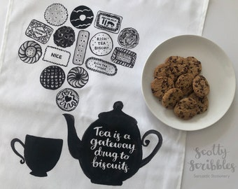 Printed Tea towel, Tea is a Gateway drug to Biscuits   Foodie, kitchen gift, homeware, kitchen textiles, Christmas gift, Birthday gift