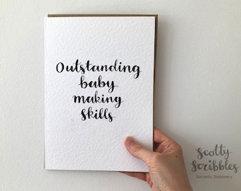 Outstanding baby making skills   new baby card   Expecting Card Welcome to the World Card New Born Baby Girl Baby Boy Card Keepsake A5 A6
