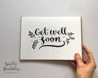 Get Well Soon Card   Get Well Card Feel Better Monochrome Card Blank Inside Personalised Greetings Card Thinking of you card A5 A6