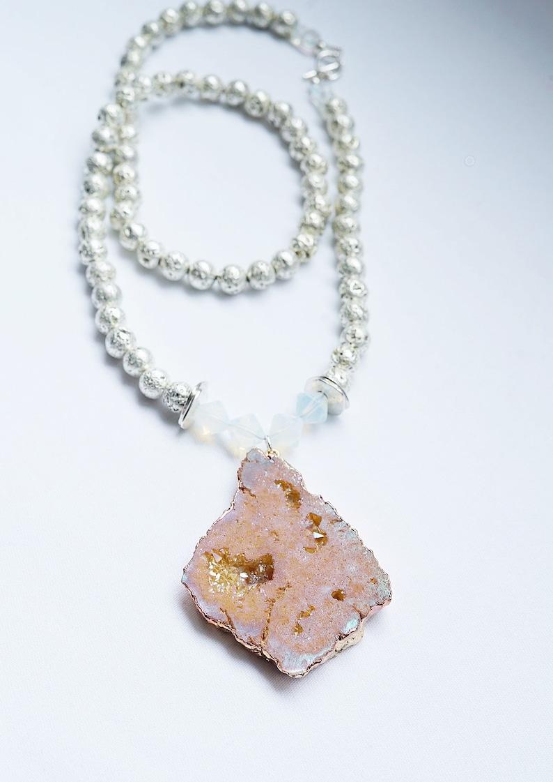 Silver Lava Beads Peach Druzy Quartz Necklace