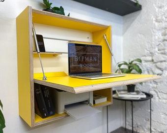Office Desk Folding Desk Work Space Desk Space Saving Desk Wall Desk Floating Desk Modern Plywood Table Furniture Design TinyHouse Furniture