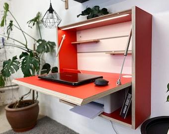 Office Desk Work Space Floating Desk Space Saving Desk Wall Desk Folding Desk Modern Plywood Table Furniture Design Tiny House Furniture