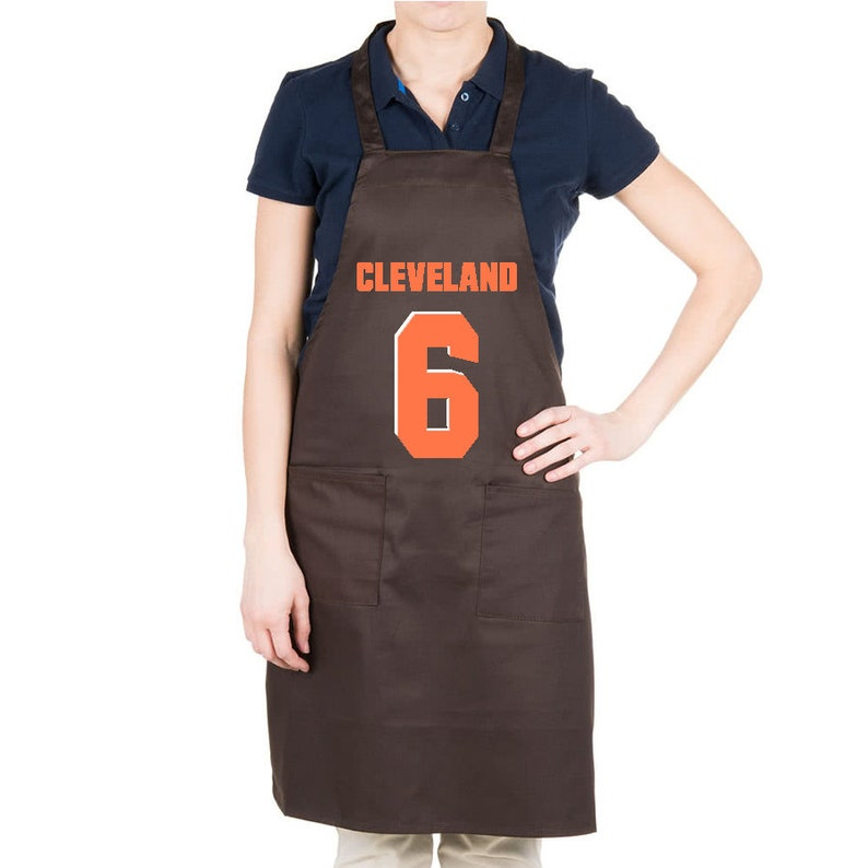 new arrival 6ed57 29742 Baker Mayfield Jersey Inspired Baker Apron: 2-Color Screen Print w/ Pockets