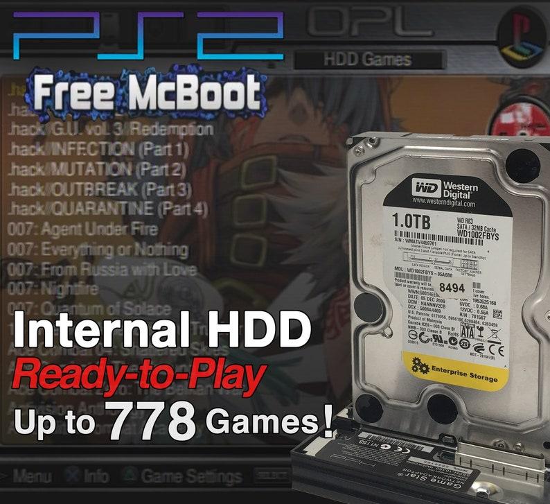 PlayStation 2 PS2 Internal Hard Drive - PLUG & PLAY - Loaded with Up to 778  PlayStation 2 Games (Free McBoot Memory Card Sata HDD Adapter)