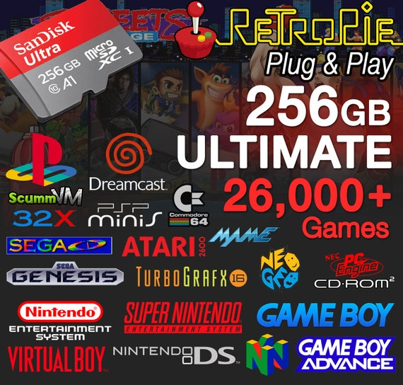 RetroPie 256GB ULTIMATE Micro SD Card (Nes, Snes, N64, Gameboy, Gba, DS,  PS1, Dreamcast) Raspberry Pi 3, B+