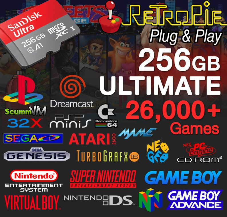 RetroPie 256GB ULTIMATE Micro SD Card (Nes, Snes, N64, Gameboy, Gba, DS,  PS1, Dreamcast) Raspberry Pi 3, B+