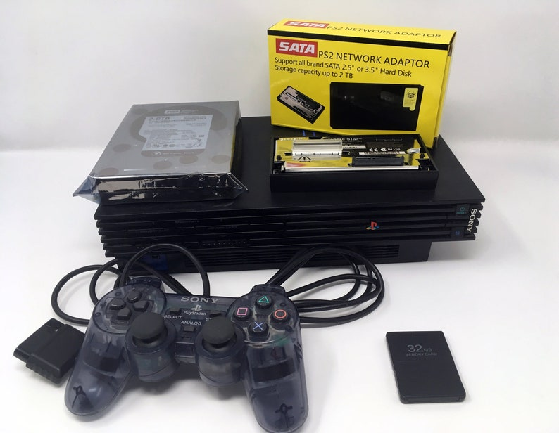 PlayStation 2 Modded Console + Hard Drive Loaded with Up to 700 PS2 Games  (FMCB Free McBoot 32MB Memory Card, SATA HDD Adapter, Controller)