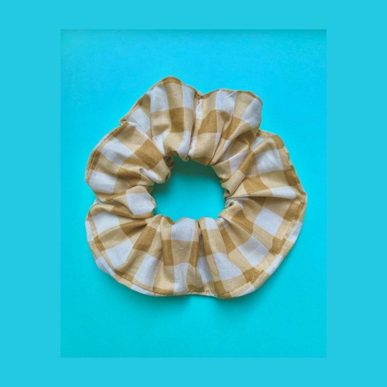 Butterscotch Gingham Plaid Scrunchie