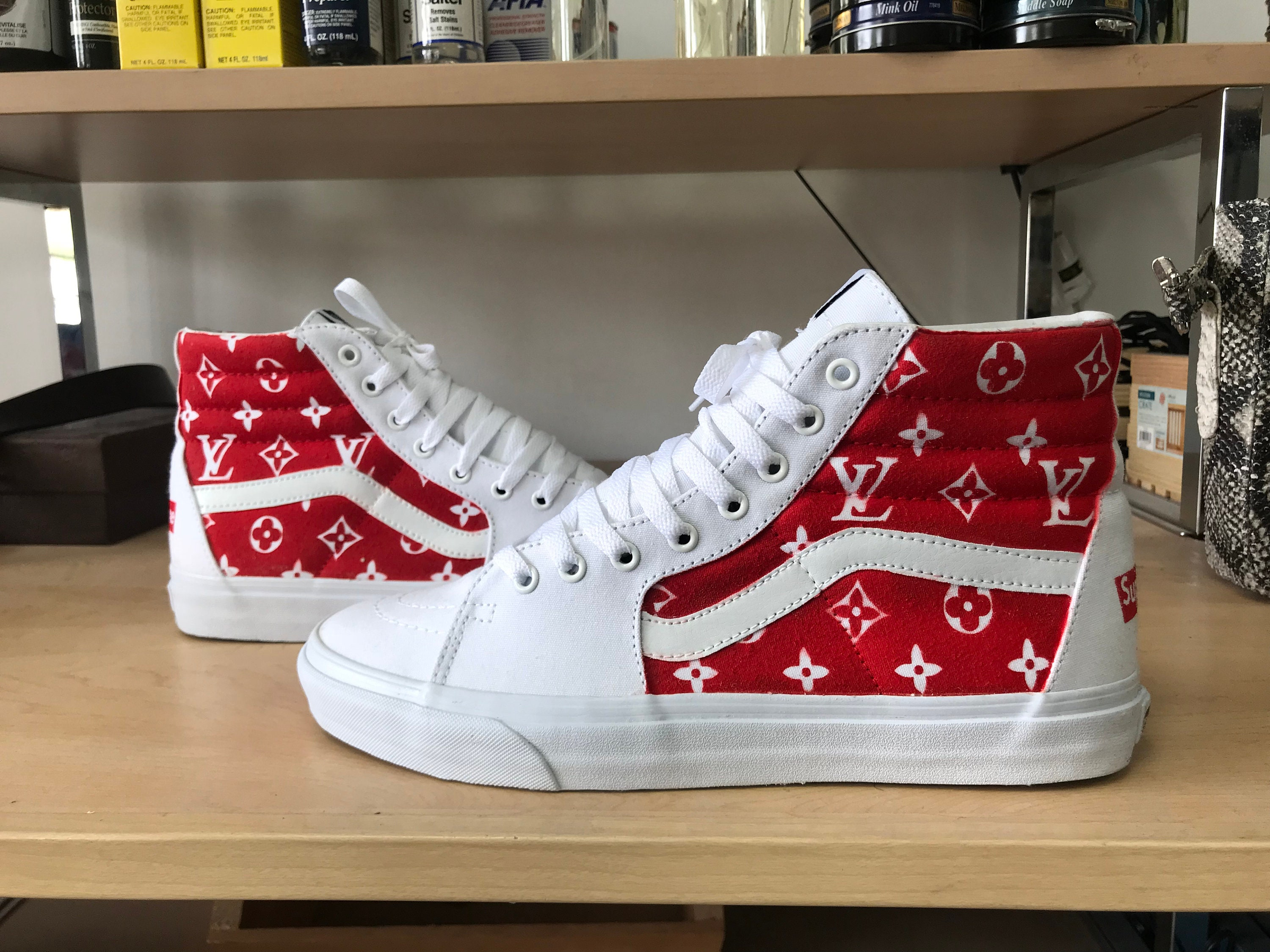 Custom Red and Sk8 White Louis Vittion Vans Sk8 and High Sneakers fedd32